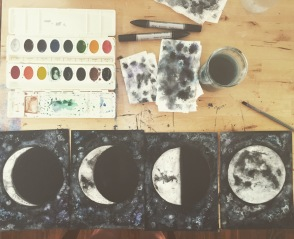 Work in progress. Set of moon phase watercolors